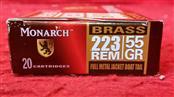 Monarch 223 Rem 55gr FMJ Boat Tail - BRASS